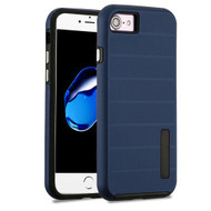 Haptic Dots Texture Anti-Slip Hybrid Armor Case for iPhone 8 / 7 - Navy Blue