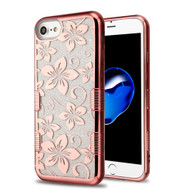 Tuff Lite Quicksand Glitter Electroplating Transparent Case for iPhone 8 / 7 / 6S / 6 - Hibiscus Flower