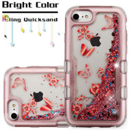 TUFF Quicksand Glitter Hybrid Armor Case for iPhone 8 / 7 / 6S / 6 - Butterfly Spring Flowers