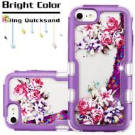 TUFF Quicksand Glitter Hybrid Armor Case for iPhone 8 / 7 / 6S / 6 - Romantic Love Flowers