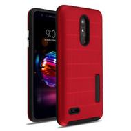 Haptic Dots Texture Anti-Slip Hybrid Armor Case for LG K30 - Red