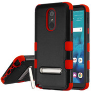 Military Grade Certified TUFF Hybrid Armor Case with Stand for LG Stylo 4 - Black Red