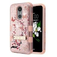 Military Grade TUFF Diamond Case with Stand for  LG Aristo 2 / Fortune 2 / K8 (2018) / Tribute Dynasty - Spring Flower