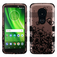 Military Grade Certified TUFF Image Hybrid Armor Case for Motorola Moto G6 Play / G6 Forge - Lace Flowers Rose Gold