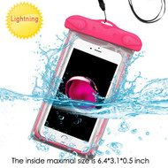 Stay Dry Glow-In-The Dark Waterproof Pouch with Lanyard - Hot Pink
