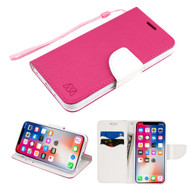 Diary Leather Wallet Case for iPhone XS / X - Hot Pink White