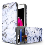 Under Cover Card Slot Case for iPhone 8 Plus / 7 Plus - Marble White