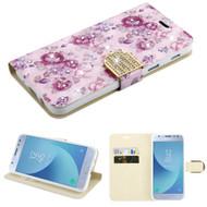 *Sale* Luxury Bling Portfolio Leather Wallet Case for Samsung Galaxy J3 (2018) - Fresh Purple Flowers