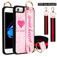 Sweet Heart Hand Strap Case with Neck and Wrist Lanyards for iPhone 8 / 7 / 6S / 6 - Pink