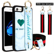 Sweet Heart Hand Strap Case with Neck and Wrist Lanyards for iPhone 8 / 7 / 6S / 6 - Blue