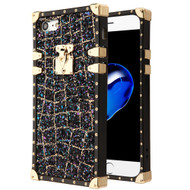 Luxury Sequin Case with Golden Buckle and Corners for iPhone 8 / 7 - Black