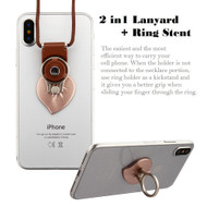2-IN-1 Smart Loop Universal Smartphone Holder & Stand with Lanyard - Heart Rose Gold