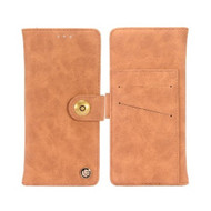 *Sale* Faux Suede Leather Wallet with Detachable Magnetic Case for Samsung Galaxy J3 (2018) - Brown