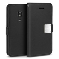 Essential Leather Wallet Case for Motorola Moto G6 Play / G6 Forge - Black
