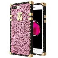 Luxury Sequin Case with Golden Buckle and Corners for iPhone 8 Plus / 7 Plus - Pink
