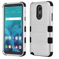 Military Grade Certified Brushed TUFF Hybrid Armor Case for LG Stylo 4 - Silver