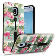 *Sale* Finger Loop Case with Kickstand for Samsung Galaxy J3 (2018) - Tropical Flamingo