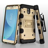 Military Grade Certified Storm Tank Hybrid Case + Holster + Tempered Glass for Samsung Galaxy J7 (2018) - Gold