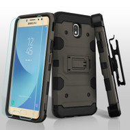 Military Grade Certified Storm Tank Hybrid Case + Holster + Tempered Glass for Samsung Galaxy J7 (2018) - Grey