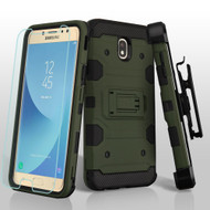 Military Grade Certified Storm Tank Hybrid Case + Holster + Tempered Glass for Samsung Galaxy J7 (2018) - Forest Green