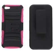 *Sale* Advanced Armor Hybrid Kickstand Case with Holster and Screen Protector for iPhone SE / 5S / 5 - Black Hot Pink