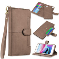 Napa Collection Luxury Leather Wallet with Magnetic Detachable Case for iPhone 8 / 7 / 6S / 6 - Brown