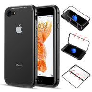 Magnetic Adsorption Aluminum Bumper Case with Tempered Glass Back Plate for iPhone 8 / 7 - Black