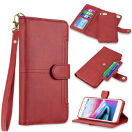 Napa Collection Luxury Leather Wallet with Magnetic Detachable Case for iPhone 8 / 7 / 6S / 6 - Red