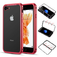 Magnetic Adsorption Aluminum Bumper Case with Tempered Glass Back Plate for iPhone 8 / 7 - Red