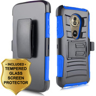 Advanced Armor Hybrid Stand Case + Holster + Tempered Glass Screen Protector for Motorola Moto G6 Play / G6 Forge - Blue