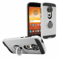 Sports Hybrid Armor Case with Smart Loop Ring Holder for Motorola Moto E5 Play / E5 Cruise - Silver