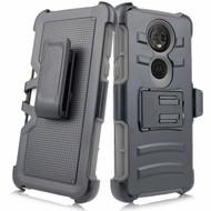 Advanced Armor Hybrid Kickstand Case with Holster for Motorola Moto E5 Play / E5 Cruise - Grey