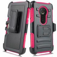 Advanced Armor Hybrid Kickstand Case with Holster for Motorola Moto E5 Play / E5 Cruise - Hot Pink