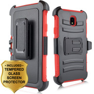 *SALE* Advanced Armor Hybrid Kickstand Case with Holster and Tempered Glass for Samsung Galaxy J7 (2018) - Red