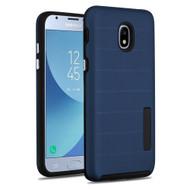 Haptic Dots Texture Anti-Slip Hybrid Armor Case for Samsung Galaxy J3 (2018) - Navy Blue