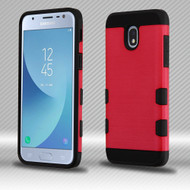 Military Grade Certified TUFF Trooper Dual Layer Hybrid Armor Case for Samsung Galaxy J3 (2018) - Brushed Red