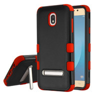 Military Grade Certified TUFF Hybrid Armor Case with Stand for Samsung Galaxy J7 (2018) - Black Red