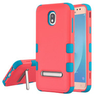 Military Grade Certified TUFF Hybrid Armor Case with Stand for Samsung Galaxy J7 (2018) - Pink Teal