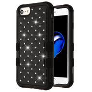 Military Grade Certified TUFF Diamond Hybrid Armor Case for iPhone 8 / 7 / 6S / 6 - Black
