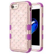 Military Grade Certified TUFF Diamond Hybrid Armor Case for iPhone 8 / 7 / 6S / 6 - Rose Gold Electric Purple