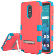 Military Grade Certified TUFF Hybrid Armor Case with Stand for LG Stylo 4 - Pink Teal
