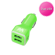 Mybat Universal Dual USB Vehicle Car Charger 3.1A - Green 10E