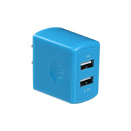 Universal Dual USB Ports AC Travel Wall Charger Adapter - Blue