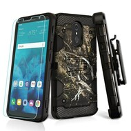 Military Grade Certified Storm Tank Hybrid Case + Holster + Tempered Glass Screen Protector for LG Stylo 4 - Tree Camouflage