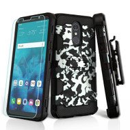Military Grade Certified Storm Tank Hybrid Case + Holster + Tempered Glass Screen Protector for LG Stylo 4 - Camouflage