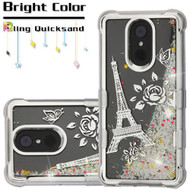 Electroplating Tuff Lite Quicksand Case for LG Stylo 4 - Eiffel Tower Silver