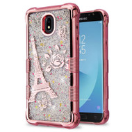 Tuff Lite Quicksand Electroplating Case for Samsung Galaxy J7 (2018) - Eiffel Tower Rose Gold