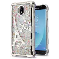 Tuff Lite Quicksand Electroplating Case for Samsung Galaxy J7 (2018) - Eiffel Tower Silver