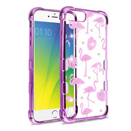 TUFF Klarity Purple plating Anti-Shock TPU Diamond Case for iPhone 8 Plus / 7 Plus / 6S Plus / 6 Plus - Flamingo Land