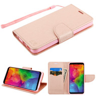 Diary Leather Wallet Shell Case for LG Q7 Plus - Rose Gold